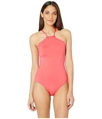 ac4e4a9fa2975 Kate Spade Core Solids #79 Scalloped High Neck One-Piece w/ Removable Soft
