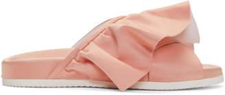 Joshua Sanders Pink Ruffle Slides
