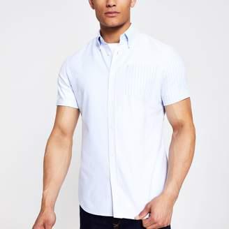 River Island Mens Light Blue stripe chest pocket shirt