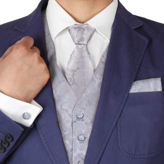IDEA VS1033-M Brown Pattern Mens Vest Tie Cufflinks Bowtie Hanky Good Gift By Y&G