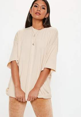 Missguided Cream Drop Shoulder Oversized Tee