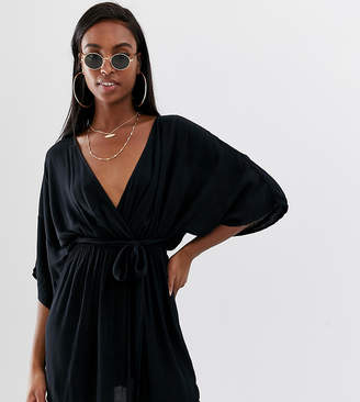 Asos Tall DESIGN Tall plunge tie waist kimono sleeve crinkle beach cover up in black