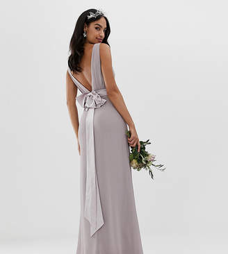 TFNC sateen bow back maxi bridesmaid dress in grey