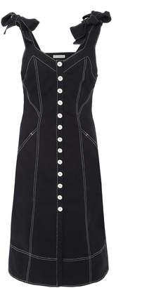 Ulla Johnson Emory Tailored Shoulder Tie Denim Dress