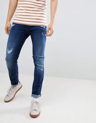 Blend of America Cirrus Distressed Skinny Jeans Darkwash