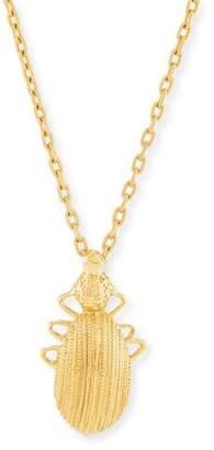 Oscar de la Renta Golden Scarab Pendant Necklace