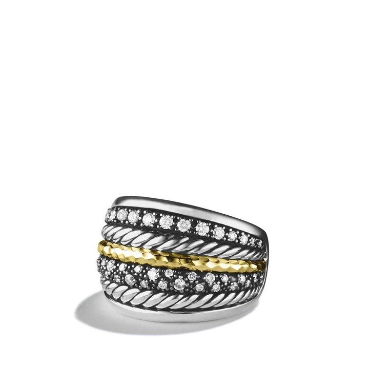 David Yurman Midnight Mé;lange Ring with Diamonds