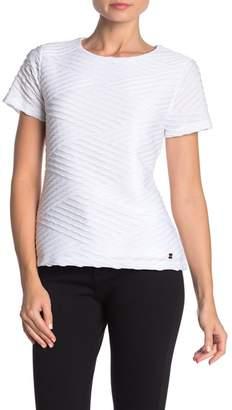 Modern American Designer Textured Short Sleeve Knit Top