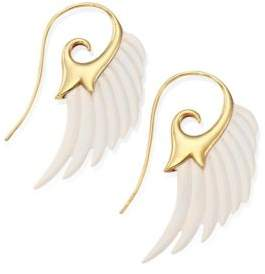 Noor Fares Fly Me To The Moon Ivory & 18K Yellow Gold Wing Earrings