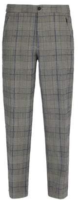 Joseph Edgar Tailored Check Wool Trousers - Mens - Charcoal