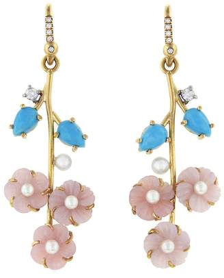Irene Neuwirth Turquoise, Akoya Pearl and Pink Opal Flower Drop Earrings