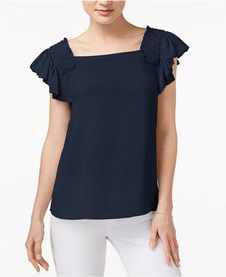 Maison Jules Smocked Flutter-Sleeve Top, Only at Macy's $59.50 thestylecure.com
