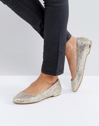 Call it Spring Call It Spring Fibocchi Gold Heel Detail Flat Shoes $38 thestylecure.com