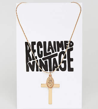 Reclaimed Vintage Inspired Cross And Charm Pendant Necklace (+)
