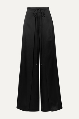 Rosetta Getty Tie-front Layered Satin Wide-leg Pants - Black