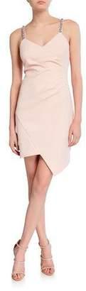 Parker Black Alana V-Neck Stretch Crepe Mini Dress with Jeweled Straps