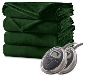 Sunbeam Luxurious Velvet Plush Queen Heated Blanket with 20 Heat Settings, Auto-off, 2-Digital Controllers, 5 Yr Warranty - by