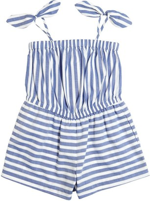 Milly Minis Striped Cotton Chambray Jumpsuit