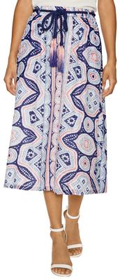 Antik BatikCotton Print Fringe Rope Midi Skirt