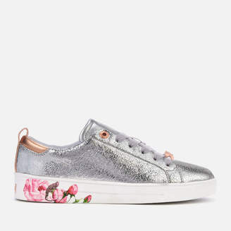 Ted Baker Women's Luoci Crackle Leather Low Top Trainers - Silver