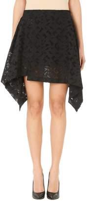 Neil Barrett Black Lace Asymmetric Skirt