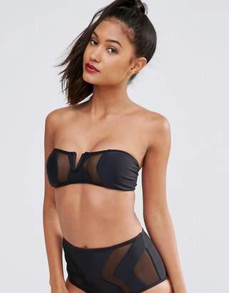 Jaded London Mesh Insert Bandeau Bikini Top
