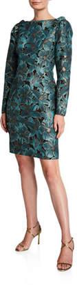 Zac Posen Floral Jacquard High-Neck Ruffle-Shoulder Long-Sleeve Dress