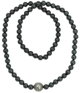 Tiffany & Co. Silver Tone Hardware and Hematite Beaded Necklace