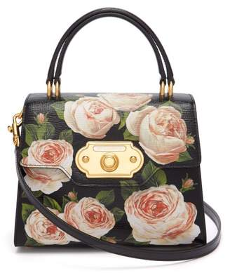 Dolce & Gabbana Welcome Rose Printed Grained Leather Bag - Womens - Black Multi