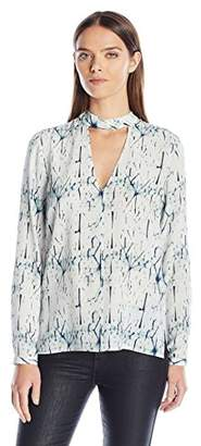 Dolce Vita Women's Washed Silk Shattered Ice Long Sleeve London Top