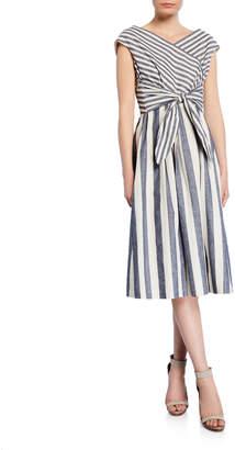 Lafayette 148 New York Striped Sash-Tie Dress