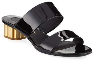 Salvatore Ferragamo Belluno Patent Two-Band Slide Sandals with Flower Heel