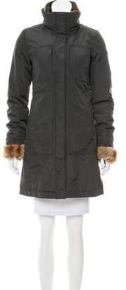 Post Card Fur-Trimmed Zip-Up Coat