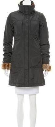 Post Card Fur-Trimmed Zip-Up Coat