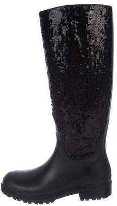 Saint Laurent Rain Gum Sequin Rain Boots