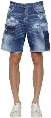 DSQUARED2 35cm Distressed Cotton Denim Shorts