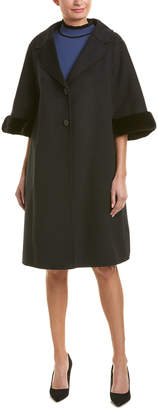 Fendi Cape Sleeve Wool Coat