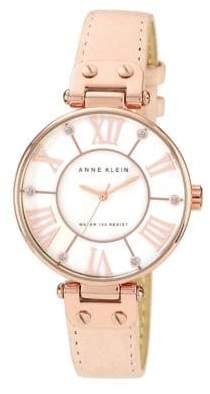 Anne Klein Rose Gold Tone Large Blush Strap Watch