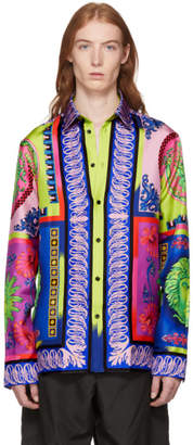 Versace Multicolor Silk Medusa Shirt