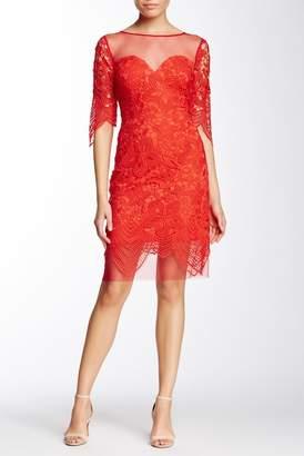 Soieblu Lace Yoke & Mesh Party Dress