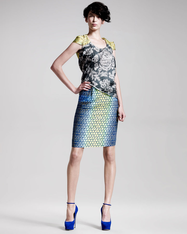Peter Pilotto Scale-Print Pencil Skirt