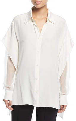 Diane von Furstenberg Long-Sleeve Button-Front Silk Shirt