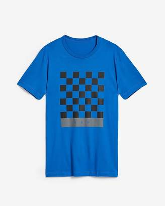 Express Checkered Crew Neck Graphic Tee
