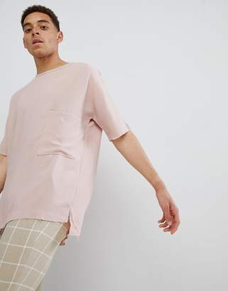 Mennace Pink Plain Pocket Oversized T-Shirt