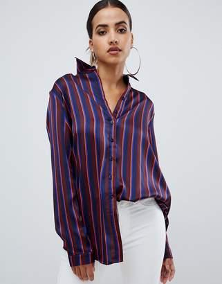 PrettyLittleThing oversized satin shirt in stripe