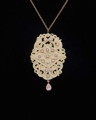 Meira T Meria T 14K Rose Gold 12.77 Ct. Tw. Diamond & Mamouth Tusk Necklace