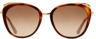 Cat Eye Cartier Eyewear - Panthere Acetate Sunglasses - Womens - Tortoiseshell