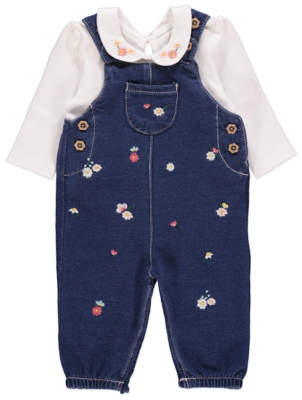George Blue Denim Look Dungarees and Bodysuit Outfit