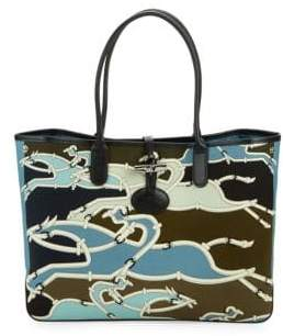 Longchamp Printed Leather-Trimmed Tote