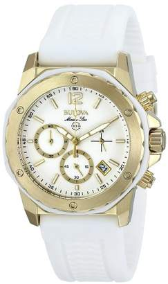 Bulova Women's 98M117 Gold-Tone Stainless Steel Watch with Rubber Strap